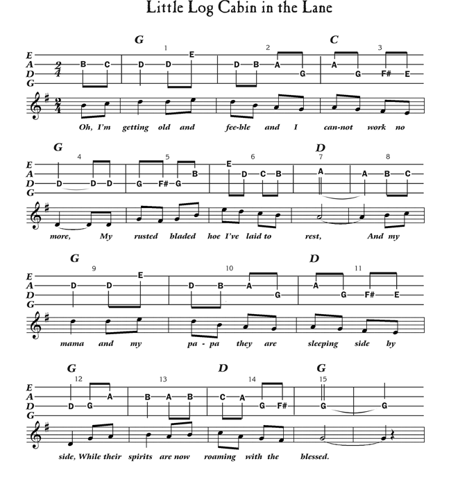 Free Mandolin Tab - Little Log Cabin in the Lane