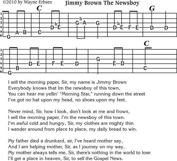 Jimmy Brown The Newsboy Free Bluegrass Guitar Tab Native Ground