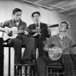 L-R: Baldwin (Butch) Hawes, John (Peter) Hawes, Pete Seeger. Seeger was one of the founders of the Almanac Singers, and both Hawes brothers played with them at various times. New York, New York:  c. 1940. (Photo by Underwood Archives/Getty Images)